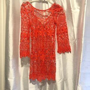 H&M coachella orange sheer crochet tunic cover up